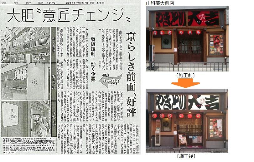 京都新聞で紹介されました「京都市・屋外広告物条例への対応」